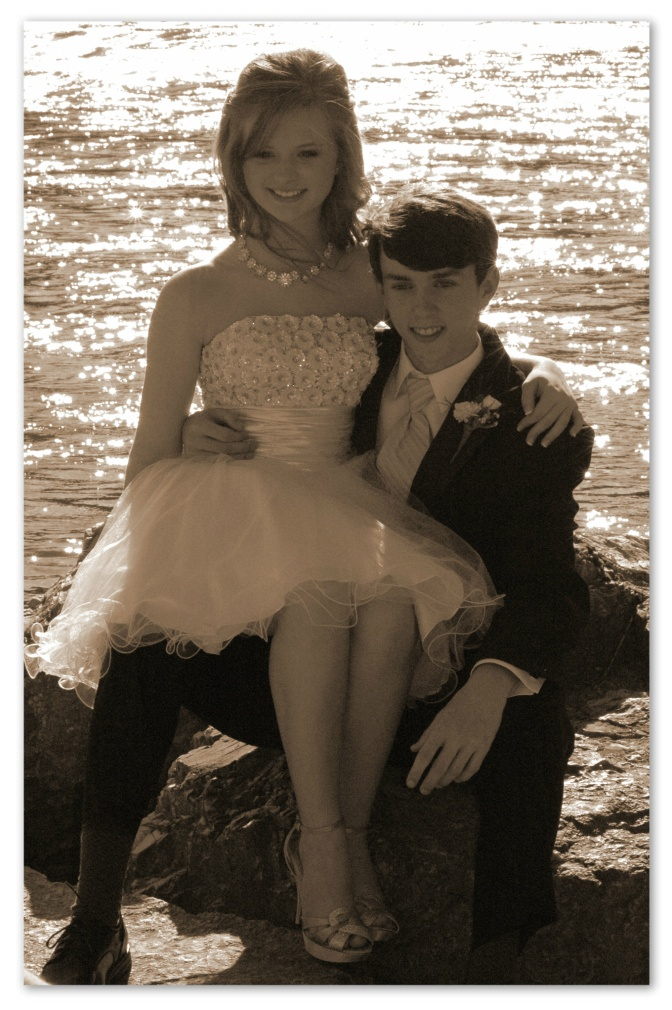 Lana and Christian By The River, Sepia